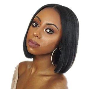 Dame noire droite perruques avant de lacet avec des perruques synthétiques 14inch courtes perruques synthétiques résistantes à la chaleur pour les femmes noires FZP153