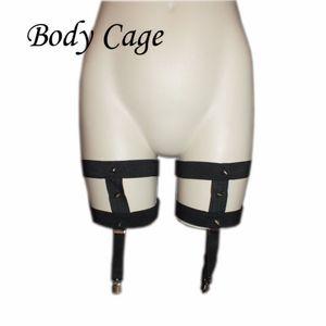 Body Cage 1pc Womens Leg Garters Calzino sexy nero Fetish Strap Bondage Harness Coscia calza reggicalze harajuku goth