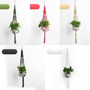 Pianta Hanger Hook Fiore pianta Handmade Knitting Pot Natural Planter Holder Basket Casa Giardino Balcone Decorazioni