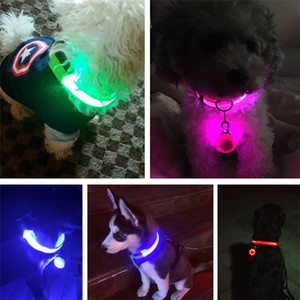 Acessórios de Natal 2020 USB Collar LED Dog Nylon Cable Cat Dog Harness Flashing Light Up Noite Segurança Pet Coleiras multi cor XS-XL Tamanho