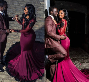 Black Girls Burgundy Prom Dresses Long 2020 Sheer Long Sleeves Mermaid African Evening Gowns With Black Appliques Lace Vestidos De Fiesta