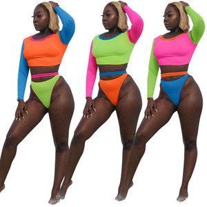 3XL Contrast Color Patchwork Casual Two Piece Set Summer Beach Woman O Neck Long Sleeve Skinny Crop Top And Sheath Shorts