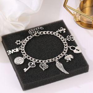 Charm Bracelet Para Mulher geometria simples Estilo Silver Plated Charms Pulseiras