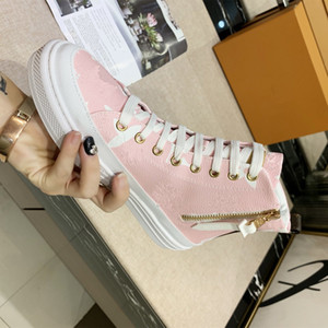 Chic Pink White High Top Sneaker Women Trainer Boots Casual Shoes Lace Up Calfskin Leather Platform Shoes Boutique size 34 to 41 tradingbear