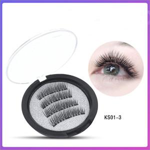 Eye makeup 3pcs Magnet Magnetic False Eyelashes 3D Mink Reusable False Eyelashes Extension 3d eyelash extensions eyelashes DHL Free shipping
