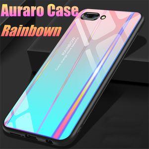 Luxe Aurora Gradient Doux TPU + Étui En Verre Trempé Pour iPhone XR XS 7 8 Plus Couverture Lase Colorée