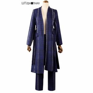 New Fashion Western Style Domineering Lady Fan Gezi Woolen Suit Loose Coat Wide Leg Pants Suit Woman Autumn Winter 2 Piece Set
