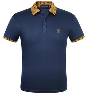 Diseñador del verano camisas de polos de los hombres de Louis Vuitton hombres de la marca de Polos camisetas con las letras de la serpiente del bordado de lujo Polo de manga corta Tops S-2XL