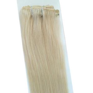 كليب Elibess العلامة التجارية الحرير مستقيم البرازيلي الشعر شقراء البلاتين اللون 60 شعر الإنسان في التمديدات 70 غرام 12 إلى 24 inche، دي إتش إل الحرة