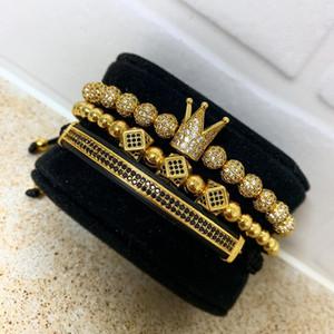 3pcs / set männer armband schmuck krone charme macramee perlen armbänder flechten mann luxus schmuck für frauen armband