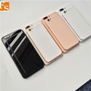 For iPhone 6 6P 6s 6SP 6Plus Back Housing Cover Like iPhone 8 Style Metal Glass Back Cover Replacement with Buttons