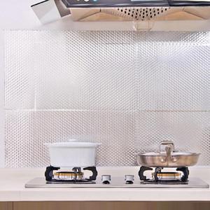 Kitchen Backsplash Wallpaper Peel and Stick Aluminum Foil Contact Paper Self Adhesive Oil-Proof Heat Resistant Wall Sticker