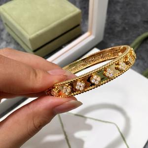 Cristal Four Leaf Clover pulseiras amor Charme Diamante Bangle Jewelry Mulheres Meninas pulseira Sorte presente frete grátis