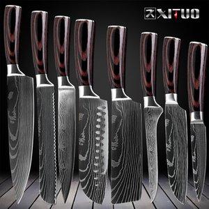 Cuisine Couteaux de cuisine Set 8 pouces japonais 7CR17 440C haute teneur en carbone en acier inoxydable Damas Laser Slicing Santoku outil