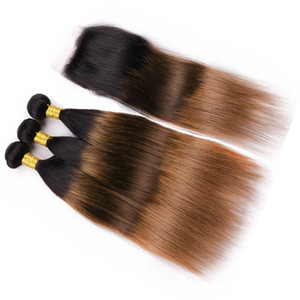 # 1B / 4/30 Black Roots Brown to Auburn Ombre 3Bundles rectos con cierre 4Pcs Lot Indian Human 3Tone Ombre teje con cierre