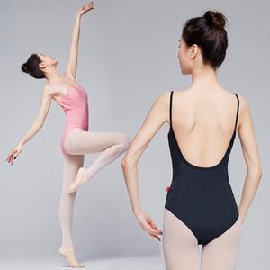 Body da Danza Balletto di forma di U donne adulte di ballo canotta Ginnastica Body rosa Sexy Back costume di balletto