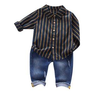 2 Pcs Sets Children Boys Clothing Sets Long Sleeve Stripe Shirt Denim Pants Set Casual Toddler Boy Outfit Suits Clothes