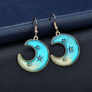 New Korean Lovely Blue Star Moon Long Stud Earrings For Women Asymmetric Rocket Aircraft Planet Earrings Girl Female Gift Brinco