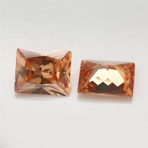 5A درجة لون الشمبانيا مستطيل الشكل زركون حجر الأميرة قص فضفاض CZ ستون الأحجار الكريمة الاصطناعية