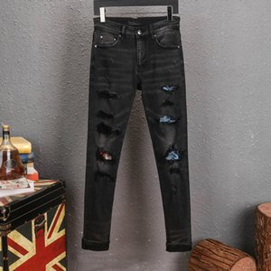2020 New spring Mens Casual Straight Jeans Retro Slim Skinny Fashion Designer Ripped Men Hip Hop Lightlue Pants