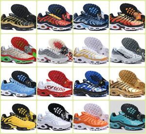 Venta al por mayor 2019 zapatos corrientes de los deportes Tn Plus aire barato TN PLUS Zapatos Negro Blanco Amarillo para hombre abejorro ser verdad Ultra zapatillas mercuriales