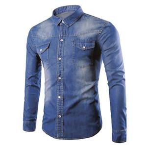 Casual Masculino Denim camisas manga comprida de algodão Washed Jeans shirt, camisa de vestido, camisa para homens pequena faísca streetwear Hip Hop