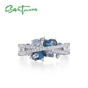 SANTUZZA Rings For Women Genuine 925 Sterling Silver Shimmering Blue Spinel Cubic Zirconia Trendy Luxury Fine Jewelry MX200528