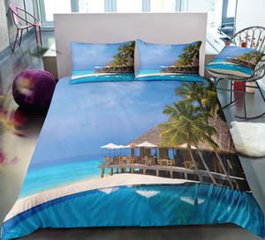 Plaj King Size Yatak Seti Seaside Tatil Serin 3D Baskılı Nevresim Kraliçe Ev Tekstil Çift Kişilik Yatak Seti ile Yastık 3adet