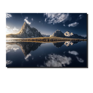 Mountain Lake Water Reflection Grass, HD Impresión de lienzos Nueva decoración del hogar Pintura de arte / (sin marco / enmarcada)