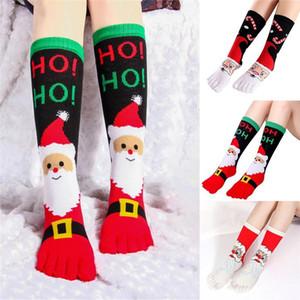 Five Finger Natale calzini Natale donna ragazza Deodorante Sudore costume Via divertimento relax Carino Toe Socks
