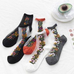 Netzstrumpf Glas Socken reizvolle transparente Stretch Elastizität Lustige Socken-Netz-Garn Dünne Frauen kühlen Silk Blumen