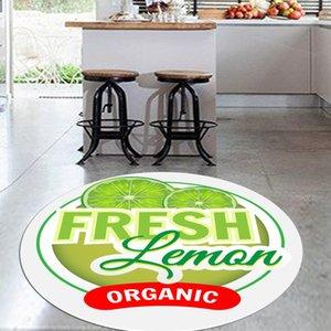 Else frutas verdes limones frescos 3d patrón de impresión de Anti Slip Volver Ronda de cocina Alfombras manta de área para salas de estar