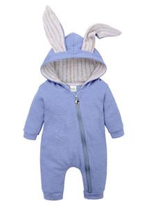 Зима Cute уха кролика с капюшоном Rompers младенца для младенцев Мальчики Девочки Детская одежда Новорожденных уха зайчика Комбинезон младенца костюма младенца Outfit