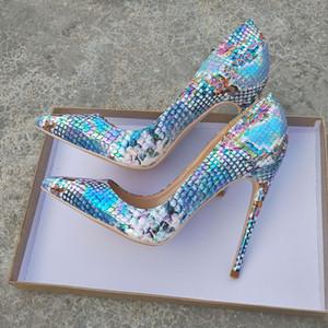 Ücretsiz nakliye moda kadın Tasarımcı bayan yüksek topuk Mavi piton yılan Sivri Burun Stiletto Topuklar yepyeni Lady 12cm 10cm 8 cm pompalar