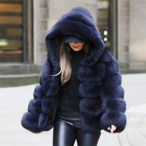 2018 nouvelle mode à capuche à capuche de manches d'hiver manteau de fourrure bleu marine bleus casual femme fausse fourrure épaisse veste chaude fourrure femme