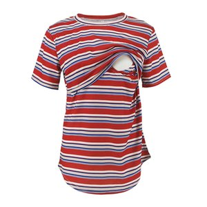MUQGEW Women Clothes Maternity Short Sleeve Casual Stripe Blouse Tops Pregnancy Over Size Breastfeeding Clothing ropa maternal
