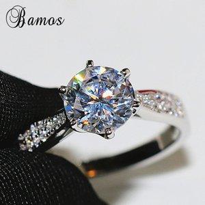 BAMOS Klasik Yuvarlak Zirkon nişan yüzüğü Moda Beyaz Altın Kadınlar Alyans Lüks Takı için Promise Rings Dolgulu