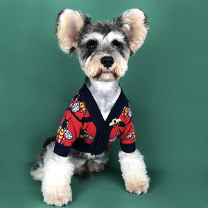 Autunno Inverno Pet maglione di lana stile di Hip Hop Dog Abbigliamento High Street Pet Dog Sweater Teddy Bulldog Cane capi di rosso e nero WX9-1764