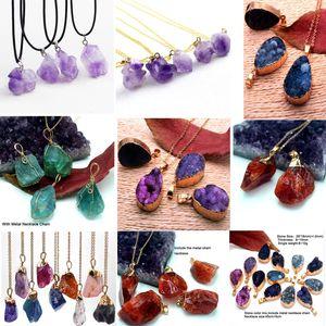 Venta caliente de piedras preciosas naturales colgante collar Crytal piedra encanto collares amatista collar forma irregular ramdomly mezcla