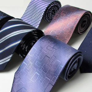 BOXED 9.5CM 100% Natural Silk Tie For Men Neckties Classic Neck Tie Genuine Silk Man Stripes Geometric Groom Wedding Party