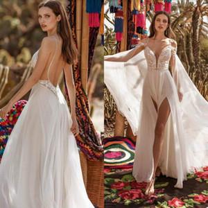 2020 spaghetti sexy Boho Abiti da sposa con Wrap alta della coscia Slits pizzo Backless Beach Wedding Dress Abiti da sposa Vestido de Noiva