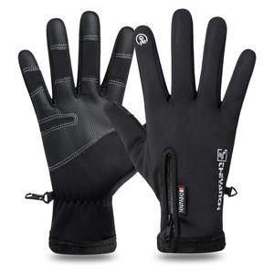 Hiver Gants écran tactile imperméable Designer Sport plus de velours chaud Finger pleine Guantes Cyclisme Gants moto de fitness thermique K0765