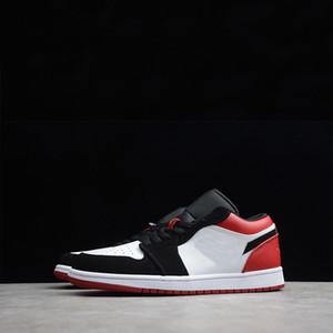 Nike Air Jordan AJ 1 AJ1 Low Black Toe 2019 Heißer Verkauf Laufschuhe 1 OG Low schwarz Toe WEISS / SCHWARZ-GYM RED Mens Trainer 553558-116 Size40-46