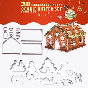 Noel Kurabiye Ev Kek Kesiciler Metal Paslanmaz Çelik Kasa Paketi 9 5yk E1 ile Diy Kek Kalıpları çikolata kalıp 18pcs Suit 3d