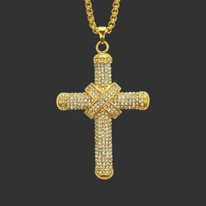 Collana in lega Hip-Hop Prepotente Retro pendente in oro placcato in oro 18 carati Collana pendente interamente ingioiellato