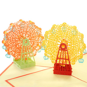 Romantic 3D Ferris Wheel Origami Greeting Card with Envelope Creative Pop Up Paper Laser Cut Handmade Post Cards Valentine Birthday Gift
