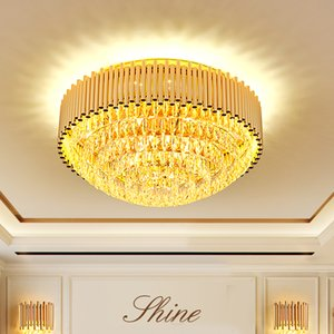 Modern K9 Crystal Ceiling Lights Fixture LED Light American Golden Round Ceiling Lamp Living Room Dining Room Bedroom Home Indoor Lighting