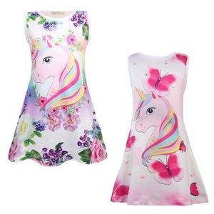 Girls summer pajamas Printed Dress toddler baby cartoon unicorns dresses pajamas girls princess Casual party costume Sundress 4~8Y sleepwear