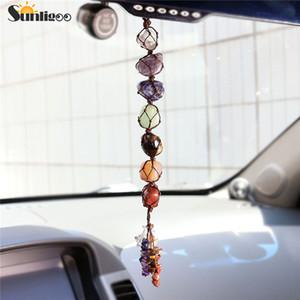 Sunligoo 7 Chakra Caída Piedras preciosas Borla Meditación espiritual Colgar / ventana / Feng Shui Ornamento Natural Stone Car / home Decorate. Q190522