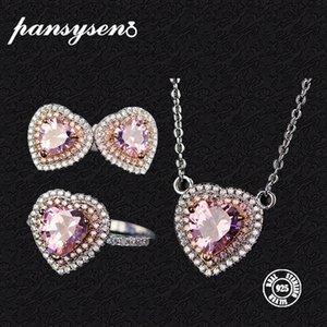 Kadınlar Gerçek 925 Gümüş Düğün Fine Jewelry için PANSYSEN Lüks Kalp Pembe Kuvars Kolye Küpe Yüzük Takı Setleri